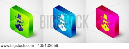 Isometric Mexican Man Wearing Sombrero Icon Isolated On Grey Background. Hispanic Man With A Mustach