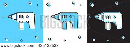 Set Electric Drill Machine Icon Isolated On Blue And White, Black Background. Repair Tool. Vector