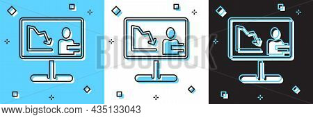Set Global Economic Crisis News Icon Isolated On Blue And White, Black Background. World Finance Cri