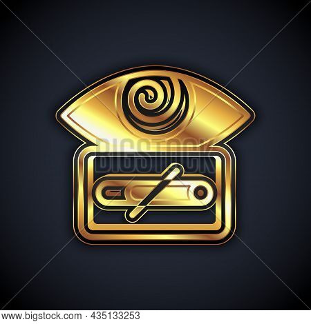 Gold Hypnosis Icon Isolated On Black Background. Human Eye With Spiral Hypnotic Iris. Vector