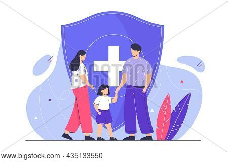 Family Life Insurance. Young Couple With Kid Protecting Health With Shield. Flat Characters Protecte
