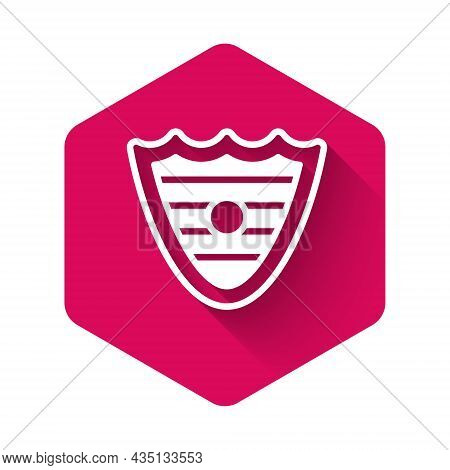 White Shield Icon Isolated With Long Shadow Background. Guard Sign. Security, Safety, Protection, Pr