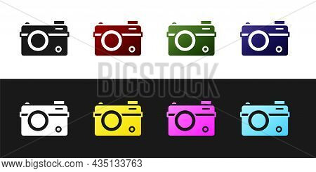 Set Photo Camera Icon Isolated On Black And White Background. Foto Camera. Digital Photography. Vect