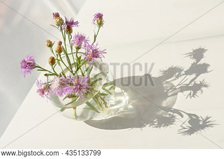 Summer Wildflowers Glass Vase. Beautiful Airy Summer Still Life With Wildflowers On A White Table. A