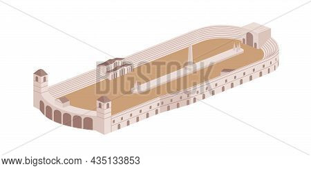 Roman Large Open-air Circus Maximus. Ancient Public Rectangle Building With Obelisk And Seats. Imper