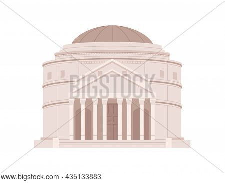 Roman Pantheon Building. Ancient Italian Temple With Columns. Facade Of Famous Imperial Construction