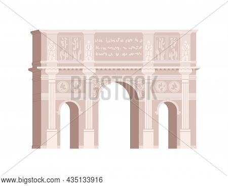 Arch Of Constantine In Rome. Ancient Triumphal Arc. Antique Roman Building With Archways. Historical