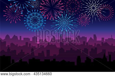 City Silhouette With White Fireworks. Skyscrapers Landscape With Bright Holiday Salute. Jpeg Celebra