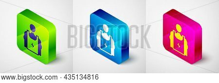 Isometric Bodybuilder Showing His Muscles Icon Isolated On Grey Background. Fit Fitness Strength Hea