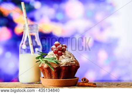 Christmas Cupcake With Milk. A Treat For Santa With A Cupcake With Milk. For Santa. Treats On The Wi