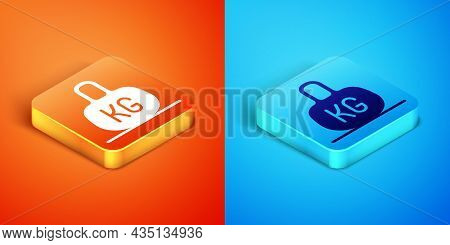 Isometric Weight Icon Isolated On Orange And Blue Background. Kilogram Weight Block For Weight Lifti