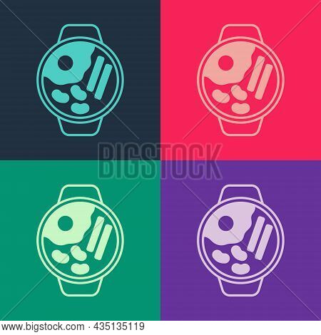 Pop Art Ramen Soup Bowl With Noodles Icon Isolated On Color Background. Bowl Of Traditional Asian No