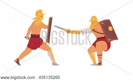 Gladiators Fight. Ancient Roman Warriors Battle. Greek Armed Men In Helmets Attacking With Sword And