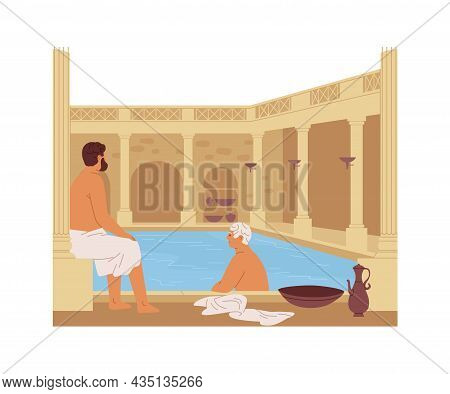Roman Thermae With Columns. Ancient People Of Rome In Public Thermal Bath. Men Resting, Bathing And