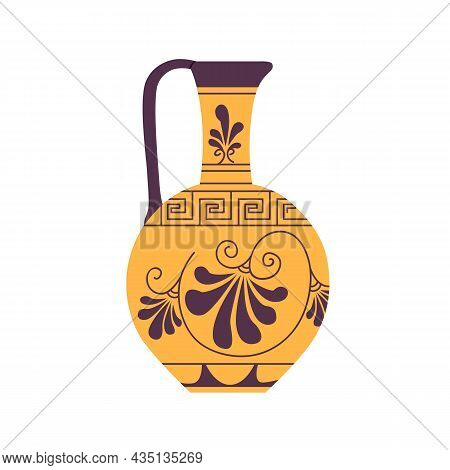 Ancient Roman Wine Jug With Handle. Antique Pottery Of Old Rome. Vintage Crockery With Ornament. Jar