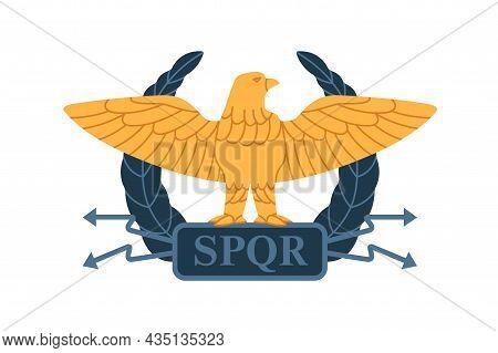 Roman Gold Eagle Of Ancient Military Legion Of Rome. Heraldic Legionary Symbol. Blazon With Bird, Wr