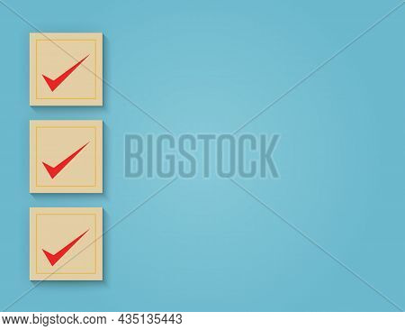 Business Services Rating Customer Experience Concept Of Correct Tick Mark On Blue Background. Vector