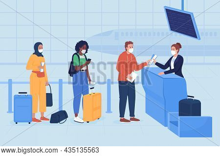 Safe Boarding In Airport Terminal Flat Color Vector Illustration. Post Covid Health Precaution. Pass