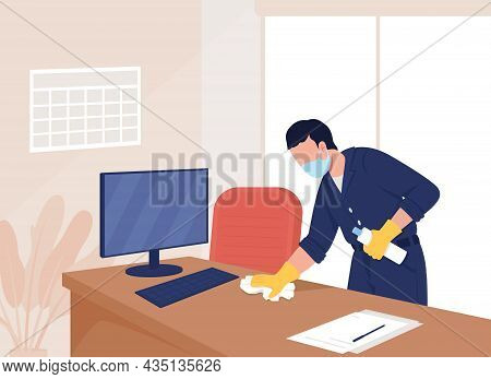 Sanitazing Office Flat Color Vector Illustration. Health Precaution Post Covid. Quarantine Measures.