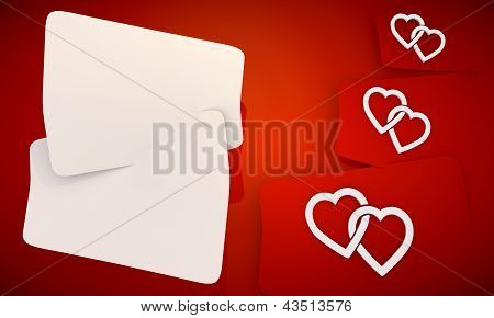 Two hearts icon in red background with three nice icons