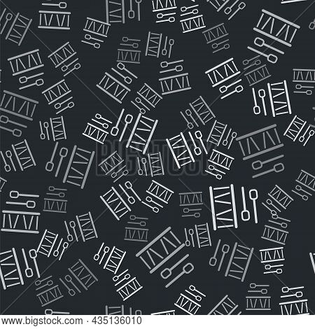 Grey Drum With Drum Sticks Icon Isolated Seamless Pattern On Black Background. Music Sign. Musical I