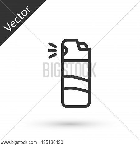 Grey Line Pepper Spray Icon Isolated On White Background. Oc Gas. Capsicum Self Defense Aerosol. Vec