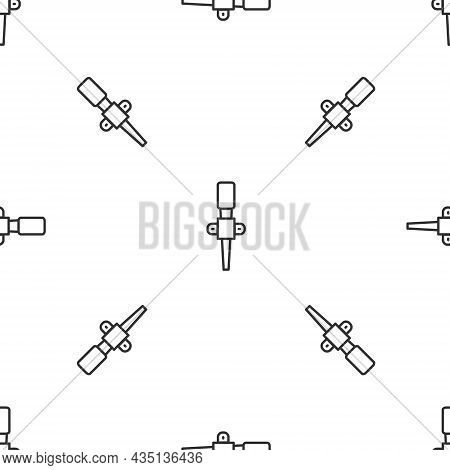 Grey Line Torch Flame Icon Isolated Seamless Pattern On White Background. Symbol Fire Hot, Flame Pow