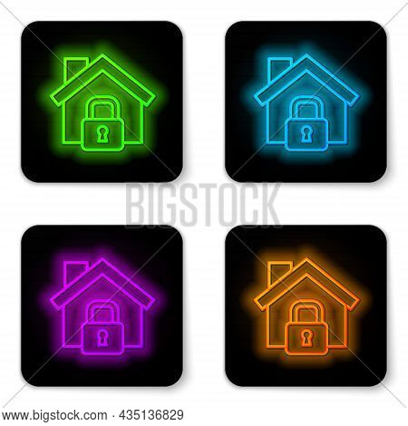 Glowing Neon Line House Under Protection Icon Isolated On White Background. Home And Lock. Protectio