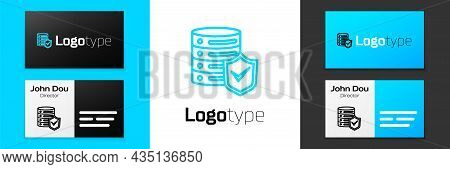 Blue Line Server With Shield Icon Isolated On White Background. Protection Against Attacks. Network