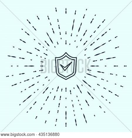 Black Line Shield With Check Mark Icon Isolated On Grey Background. Security, Safety, Protection, Pr