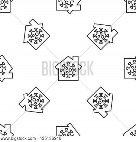 Grey Line Stay Home Icon Isolated Seamless Pattern On White Background. Corona Virus 2019-ncov. Vect