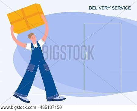 Delivery Concept. Delivery Service. The Courier Delivers The Parcel. Delivery To The Door. Vector