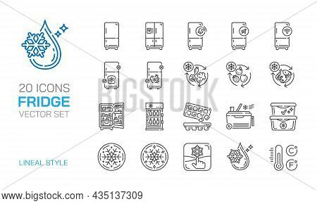 Fridge Lineal Icon Vector Set. Freeze,smart Preservation,keep Refrigerated Foods.