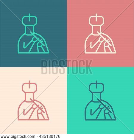 Pop Art Line Indian Man Plays Flute Icon Isolated On Color Background. Artist Playing Bansuri Folk M