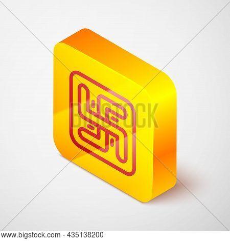 Isometric Line Hindu Swastika Religious Symbol Icon Isolated On Grey Background. Yellow Square Butto