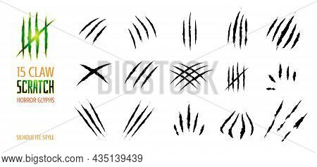 Claw Scratch Vector Illustration. Set Of Cruel Animal Scratches Horror And Grunge Concept In Silhoue