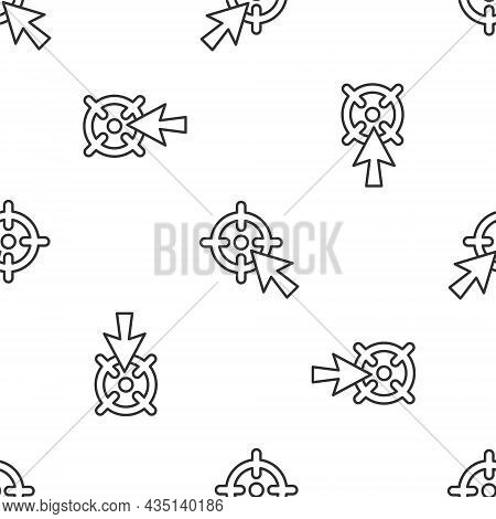 Grey Line Target Financial Goal Concept Icon Isolated Seamless Pattern On White Background. Symbolic