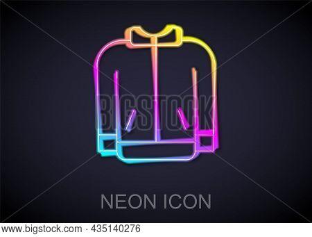 Glowing Neon Line Baseball T-shirt Icon Isolated On Black Background. Baseball Jersey, Sport Uniform