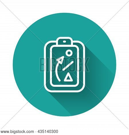 White Line Planning Strategy Concept Icon Isolated With Long Shadow Background. Baseball Cup Formati