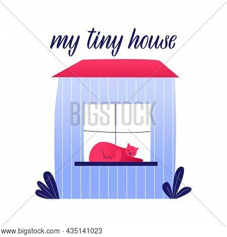Tiny House Living. Small House With Cat. Compact Space Concept. Vector Flat Hand Drawn Illustration.