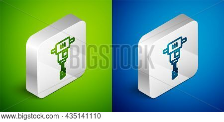 Isometric Line Electrical Hand Concrete Mixer Icon Isolated On Green And Blue Background. Handheld E