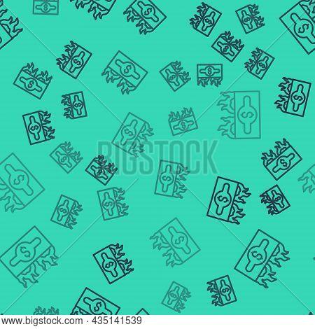 Black Line Burning Dollar Bill Icon Isolated Seamless Pattern On Green Background. Dollar Bill On Fi