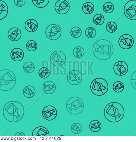 Black Line No Alcohol Icon Isolated Seamless Pattern On Green Background. Prohibiting Alcohol Bevera