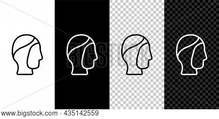 Set Line Diving Hood Icon Isolated On Black And White, Transparent Background. Spearfishing Hat Wint