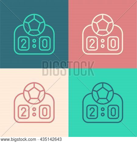 Pop Art Line Sport Mechanical Scoreboard And Result Display Icon Isolated On Color Background. Vecto