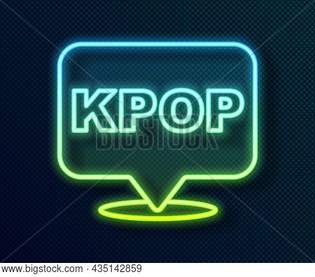 Glowing Neon Line K-pop Icon Isolated On Black Background. Korean Popular Music Style. Vector