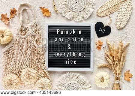 Pumpkin And And Everything Nice, Text On Letter Board. Off White Natural Fall Decorations. Flat Lay