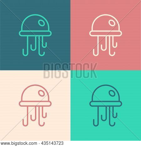 Pop Art Line Jellyfish Icon Isolated On Color Background. Vector