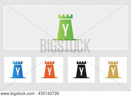 Castle Logo On Letter Y. Castle King Logo Design Initial Y Letter Concept Vector Template