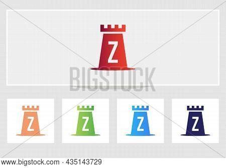 Castle Logo On Letter Z. Castle King Logo Design Initial Z Letter Concept Vector Template